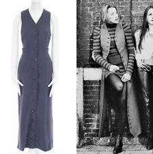 MAISON MARTIN MARGIELA Vintage AW1989 grey pinstripe silk back long vest M