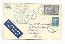 First Flight Cover  AAMC 4903b  Vancouver Canada to Sydney Australia