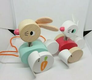 Janod Zigolos Pull - Along Rabbits Wooden Toy Bunny Easter