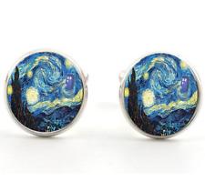 Men's Shirt Glass Van Gogh Starry Sky Silver Brass Copper Cufflinks Cuff Links