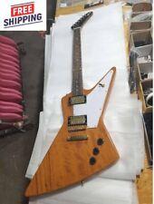 Custom Explorer 76 Natural Wood Electric Guitar 6 String New Free shipping