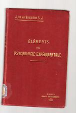 elements de psycologie experimentale - j de la vassiere s.j - 1912