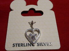 DISNEY 3-D HEART WITH FLOATING  CRYSTAL MICKEY STERLING SILVER DANGLE CHARM