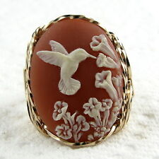 Hummingbird Cameo Ring 14K Rolled Gold Jewelry Size Selectable Brown Resin