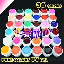 36 Pure Colors Pots Shiny Cover UV Gel Nail Art Tips Extension Decor GDCOCO