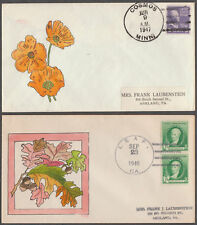 2 DIFFERENT FDCs HAND PAINTED BY GLADYS ADLER BL2982