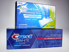 28 ADVANCED TEETH WHITENING STRIPS + CREST3D GLAMOROUS WHITENING TOOTHPASTE