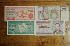 4 different Burundi paper money 10, 20, 50 and 100 Francs AU-Unc.