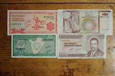 4 diff. Burundi paper money 10, 20, 50 & 100 Francs Au-Uncirculated