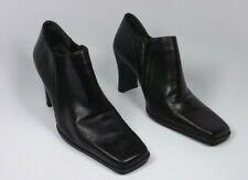 Women's BRUNO VALENTI Ankle Boots 10 Black Genuine Leather Heels Square Toe