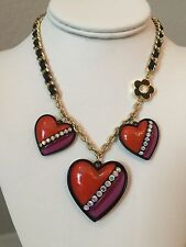 NWT Rare Betsey Johnson 3 hearts Love me Red purple flower Necklace
