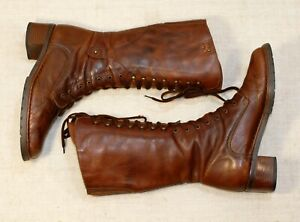 270$ PIKOLINOS brown lace up mid calf granny combat boots 38 fit us7.5-8 uk5-5.5