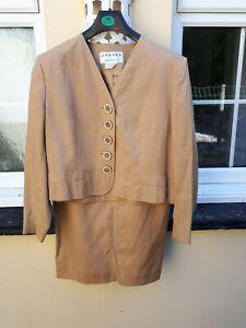 Vintage Jaeger designer camel silk and linen skirt & matching jacket Size 14/16