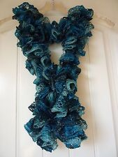 Handmade Crocheted Fashion Ruffle Scarf -  Aquamarine Shimmer