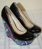 Womens Steve Madden Black Patent Multi Color Platform Wedge Heels Shoes Sz 6.5M