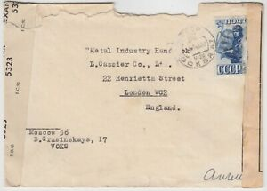 MILITARY RUSSIA 1943 DOUBLE censor cover *MOSCOW-LONDON*