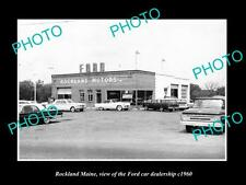OLD LARGE HISTORIC PHOTO OF ROCKLAND MAINE, THE FORD CAR DEALERSHIP c1960