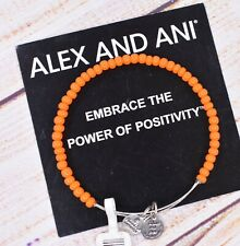 Color Beaded Bangle Silver Bracelet New Nwt Alex and Ani Orange