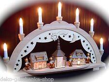 Arc à lumière à bougies 3D Bergmann avec 4 figurines église Seiffen 57x38 cm