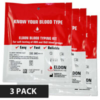 Eldoncard Blood Type Test Kit, Blood Typing Kit w/ Instructions (3 Pack)