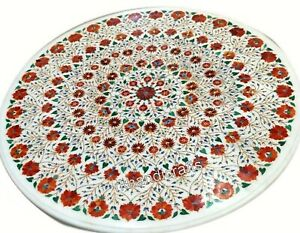 Carnelian Stone Inlaid Restaurant Table Top Marble Island Table Size 48 Inches
