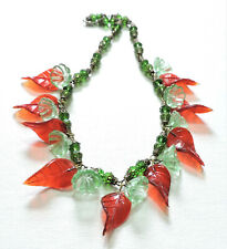 Vintage Green Flowers Red Leaves Lampwork Art Glass Bead Necklace Jl20Bn53