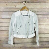 LOU & GREY Loft Women's Linen Long Sleeve Zip Front Jacket XS Blue White Striped