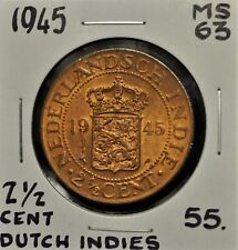 1945 Dutch East Indies 2-1/2 Cent MS-63