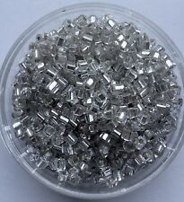 20g clear silver lined square seed beads - stock in AUD # W7 - 0.3 x 0.35cm