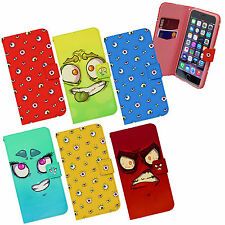 Googly Eyes Fun Crazy Face Cartoon Emoticon Wallet Flip Case Cover for Phones