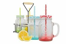 Mason Jar Mugs With Handles Lid Straws Carrier Color Glass Cold Drinking 4 set