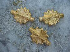 3 piezas planas perlas de latón 28 x 20 mm círculo ghana ashanti amarillo fundición Lost Wax