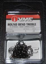 VMC 9650 Round Bend Treble Hooks Size 5 - Pack of 25 9650BN-05 Black Nickel