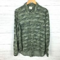Harper Women's Green Camouflage Button Front Shirt Back Buttons Camo size M