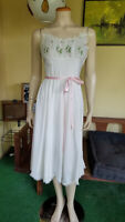 Vtg 40s Eye-ful Pink Embroidered Chiffon Nightgown Lace Nightie Lingerie 32 XS/S