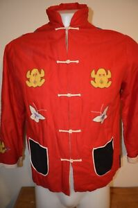 Asian Quilted 3D Handmade Hippie Cosplay Frog Spider M/L Kimono Top VTG 50s 60s