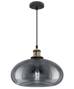 Vintage Smoked Glass Shade Chandelier Pendant Ceiling Home Pub Diner Light M0198