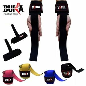 BUKA ® Weight Lifting Gym Power Straps Grip Gloves Training Wrist Support NEW