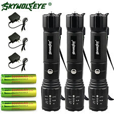 10000 Lumen 3 Sets Flashlights 5 Modes CREE XML T6 LED 18650 Battery+Charger USA