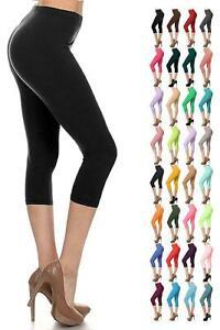 Womens Capri 3/4 Leggings Ladies Three Quarter Jersey Gym Fitness Workout Pants