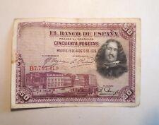 1928 Banco de España 50/cincuenta/cincuenta pesetas billete. Velazquez