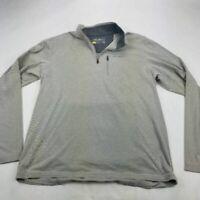 Eddie Bauer Mens Travex Activewear Long Sleeve Top Shirt Gray Textured 1/4 Zip L