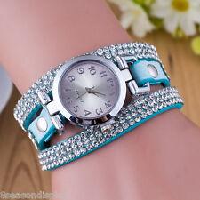 FL Women Fashion Weave Wrap Rhinstone Crystal Rivet Analog Quartz Wrist Watch