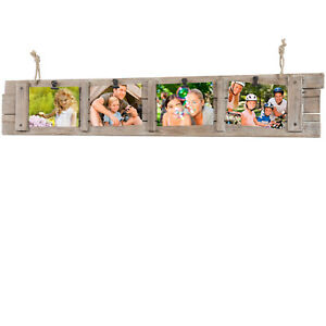 Collage Picture Frame Board from Rustic Distressed Wood: Holds Four 4x6 Photos
