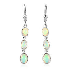 925 Sterling Silver Dangle Drop Earrings Platinum Over Opal Gift Jewelry Ct 0.9