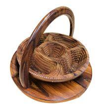 Handmade Wooden Basket Spring Folding Collapsable