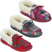 Womens Moccasin Fur Slippers Cushion Walk Lined Tartan Checkered Slip On UK 4-8