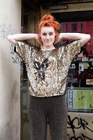 Damen Pailletten Shirt Top schwarz gold black 80er True VINTAGE 80s silk shiny