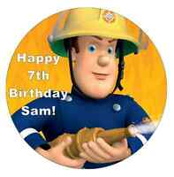 "Fireman Sam Personalised Cake Topper Edible Wafer Paper 7.5"""