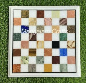 """12"""" Marble Chess Game Table Top Inlay Semi Precious Stones Work"""